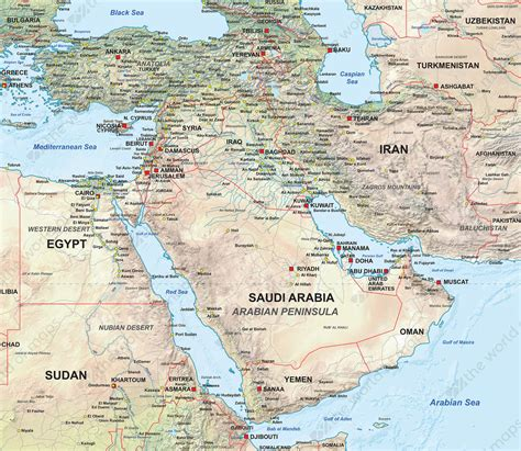 physical map of the middle east digital map middle east physical 1311 the world of maps