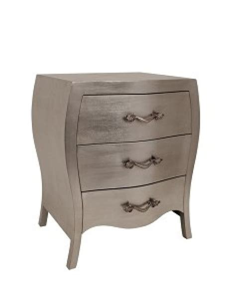 Silver Bedside Drawers by Chambery Three Drawer Bedside Table In Silver