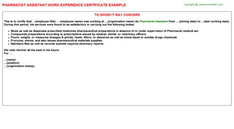 Pharmacist Assistant Description by Pharmacist Assistant Work Experience Certificate Sle