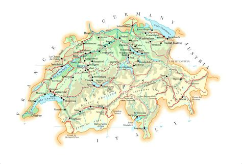 physical map of switzerland large detailed physical map of switzerland with roads