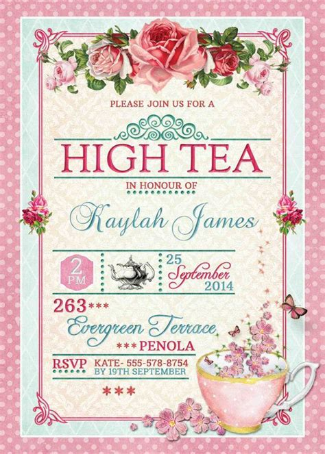 high tea invitation template best 25 high tea invitations ideas on tea
