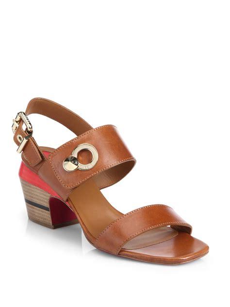 lyst fendi cara colorblock leather block heel sandals in
