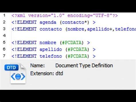 xml tutorial with dtd creaci 243 n de un dtd para un xml con ejemplo tutorial