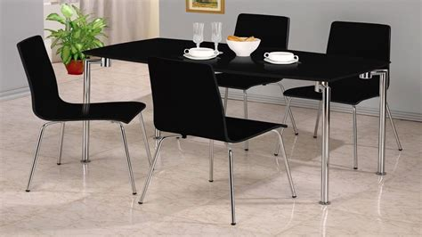 small black high gloss dining set 4 chairs homegenies