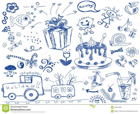 free vector birthday doodle birthday doodles stock vector illustration of decoration