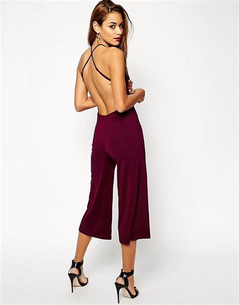 Overall Cullote asos asos strappy back culotte jumpsuit
