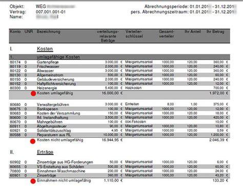Muster Jahresabrechnung Weg ausweis der umlagef 228 higen und nicht umlagef 228 higen kosten