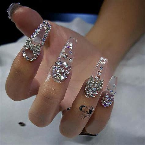 custom nails design crystal  charms atdailycharme