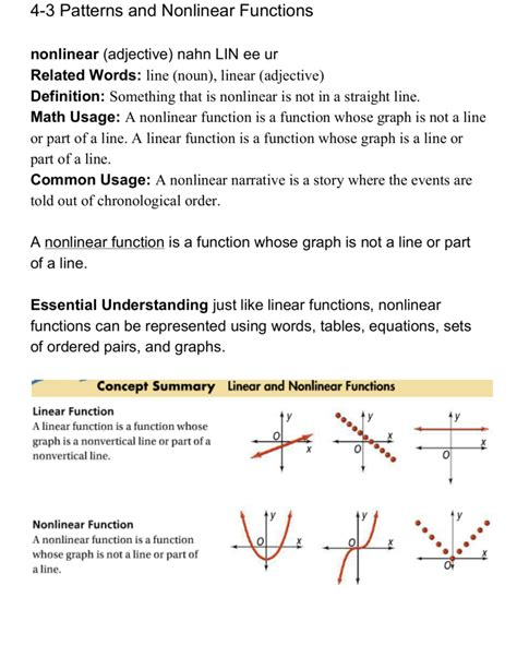 Linear And Nonlinear Relationships Worksheets