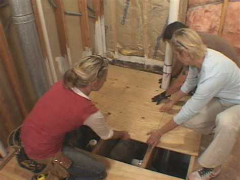 how to replace a bathroom floor how to lay a subfloor how tos diy