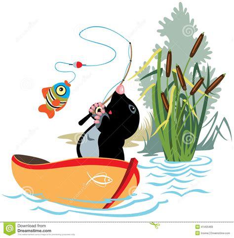 little cartoon boat fishing mole stock vector image 41455469