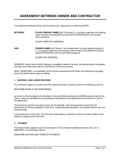 contract for work to be performed template agreement between owner and contractor template sle