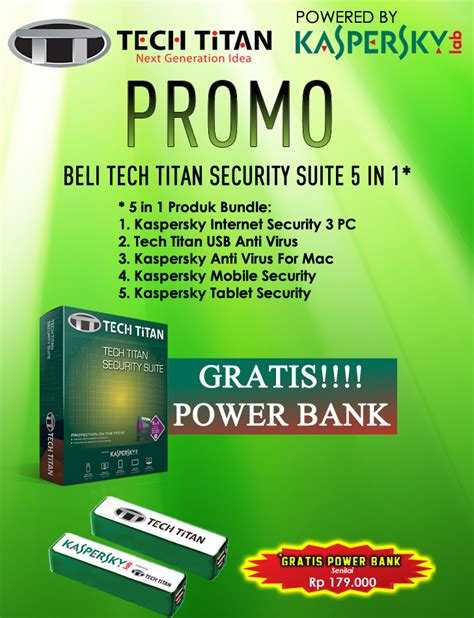 Kaspersky Tech Titan T Drive Pro 5 In 1 Tt Tdp8331 Id 3 User beli kaspersky 3 user gratis powerbank tech titan indonesia