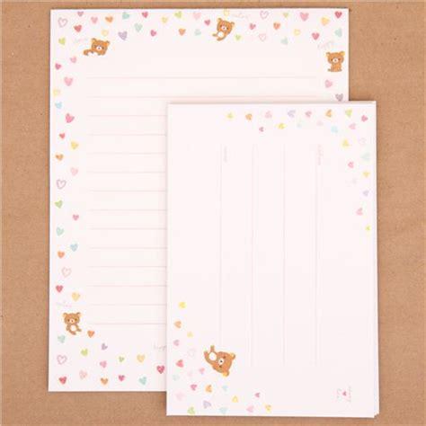 Rillakuma Japan Letter Set rilakkuma and mini hearts letter paper set japan