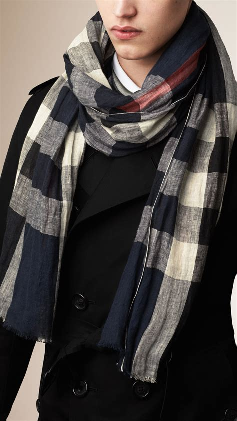 burberry check linen crinkled scarf navy in blue for