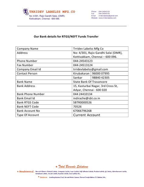 Rtgs Transfer Request Letter Bank Details Rtgs Neft Codes Trridev