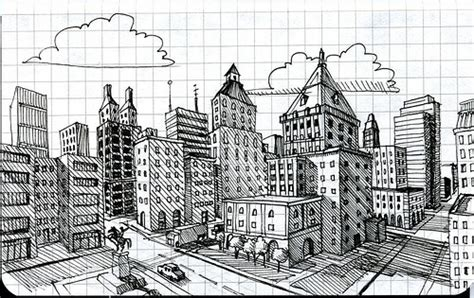 2 point perspective city exploring visual