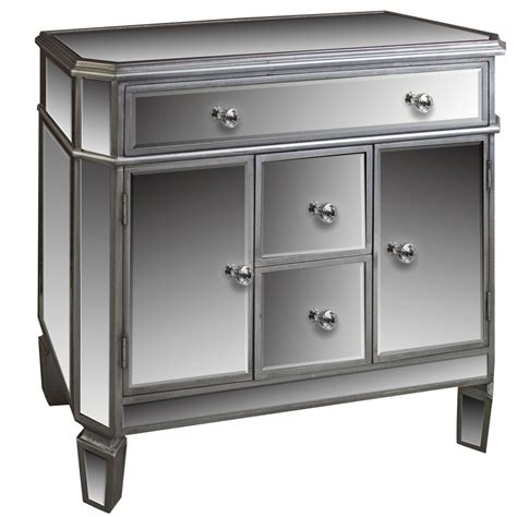 Silver Drawer by Silver Mirrored 4 Drawer 2 Cupboard Sideboard