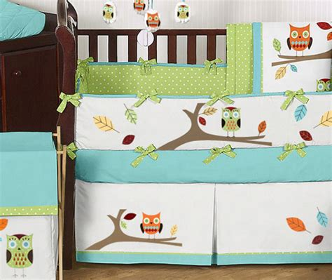 modern owl tree theme unisex boy baby crib bedding