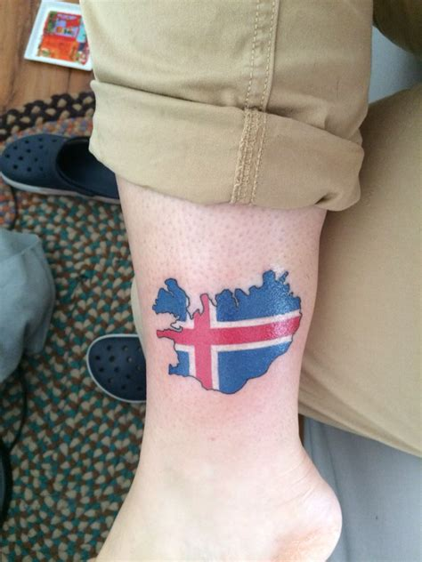 iceland tattoo iceland map with flag future