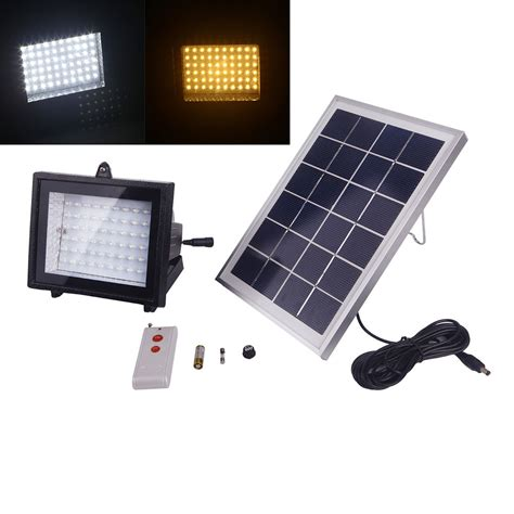 Remote Controlled Outdoor Lighting Solar Power 60led Outdoor Flood Light With Remote Garden Landscape L Ebay