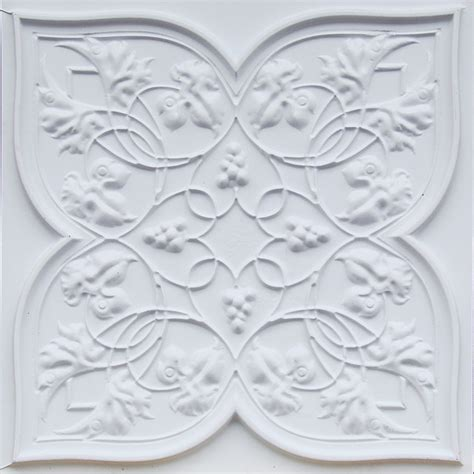 d212 pvc white matte faux tin ceiling tile glue up or