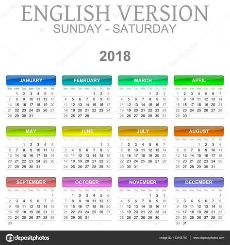 Cm 2018 Calendrier Version En Langue Anglaise Calendrier 2018 Du Dimanche Au