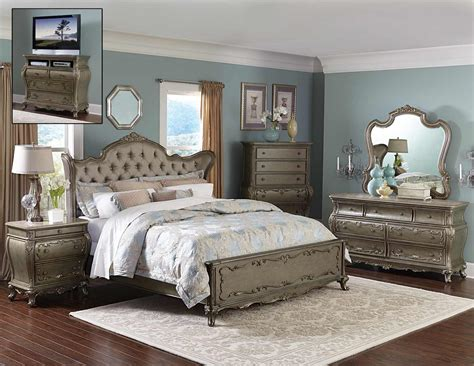home furniture bedroom sets homelegance florentina bedroom set silver gold 1867