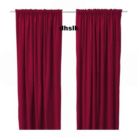 Ikea sanela curtains drapes 2 panels red velvet 118 quot long