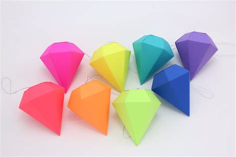 Neon Origami Paper - geometric paper gem ornaments paper diamonds neon bright
