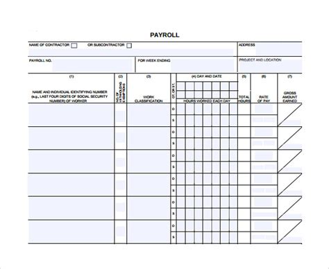 9 Certified Payroll Forms Sle Templates Certified Payroll Template