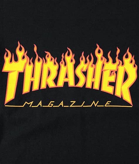 Longsleeve Vans Fonts thrasher logo black sleeve t shirt zumiez