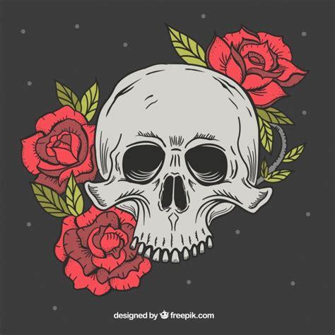 imagenes de calaveras rojas calavera fant 225 stica con flores rojas dibujadas a mano