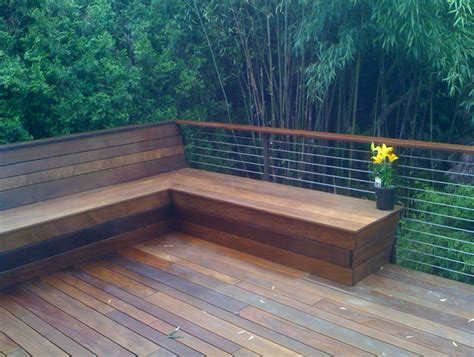 built in bench on deck deck benches with backs home design ideas