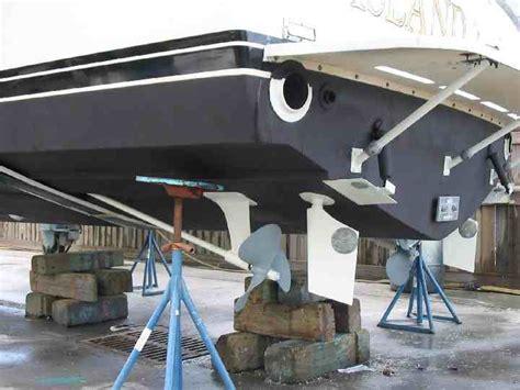 boat rudder trim tabs rudder strut 35 bertram bottom paint the hull truth