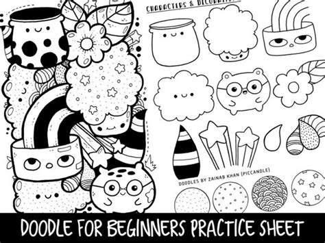how to draw doodle for beginner doodle for beginners reference practice printable