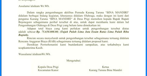 contoh surat permohonan bantuan kegiatan lomba olah raga wiki