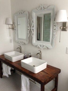 antique sideboard as vanity with rectangle vessel sink