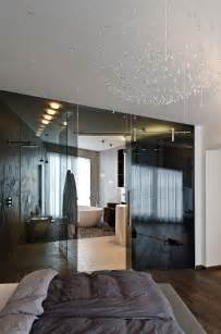 home interiors bedroom dark glass wall bathroom bedroom concrete interior