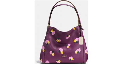 Coach Flowery lyst coach edie shoulder bag 31 in floral print leather in purple