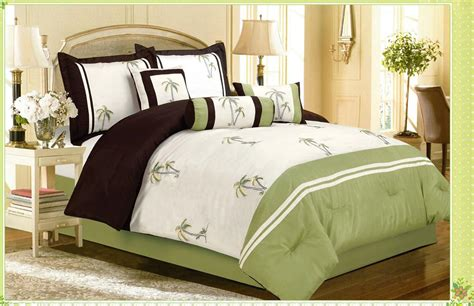 palm tree comforter 7pc catalina green palm tree faux silk comforter bedding