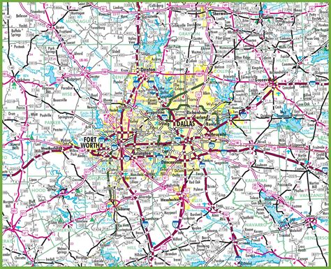 dallas texas road map map of dfw area cities pictures to pin on pinsdaddy