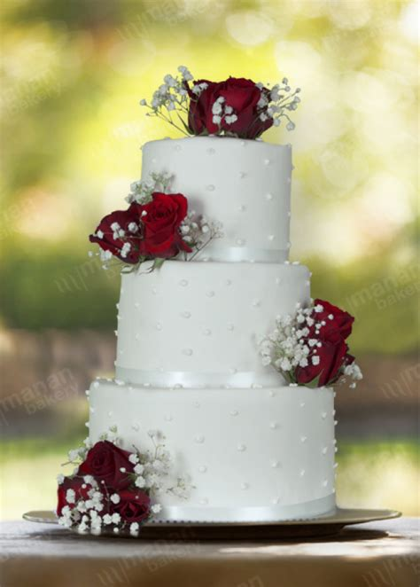 wedding cake pure white  red roses