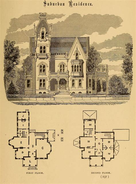 gothic architecture floor plan design for a suburban residence gothic revival except for