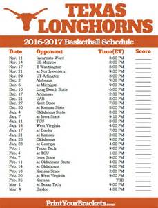 Ut Schedule Printable Longhorns 2016 2017 Basketball Schedule