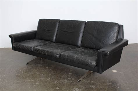 midcentury black leather sofa at 1stdibs