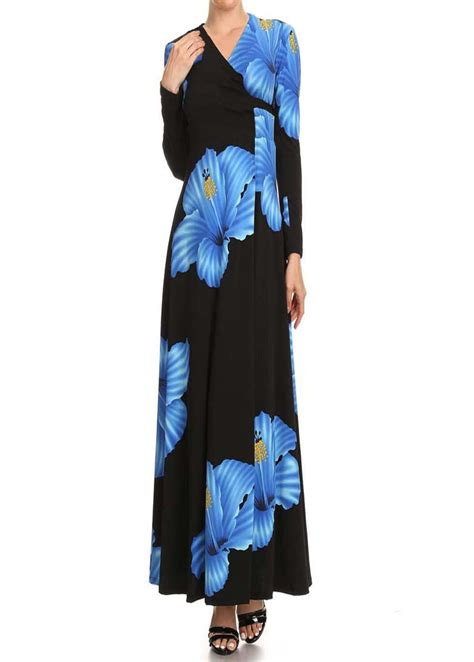 Maxi Blue Flower blue flower length wrapped maxi dress modli