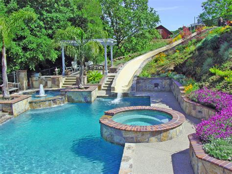 Backyard Pool Water Slides Water Slide And Swimming Pool And Retaining Walls Montego Dr Danville Alder