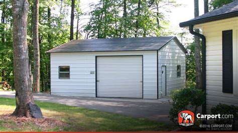 Two Car Garage With Carport by Two Car Metal Garage Boxed Eave Roof 20 X 26 Shop