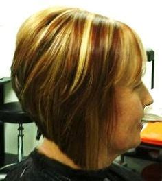 show mw pics of swimg bpbs red hair blond highlight tapered swing bob hair created